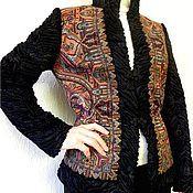 """Одежда ручной работы. Ярмарка Мастеров - ручная работа Жакет  из павловопасадских платков с меховыми рукавами """"Шафран"""". Handmade."""