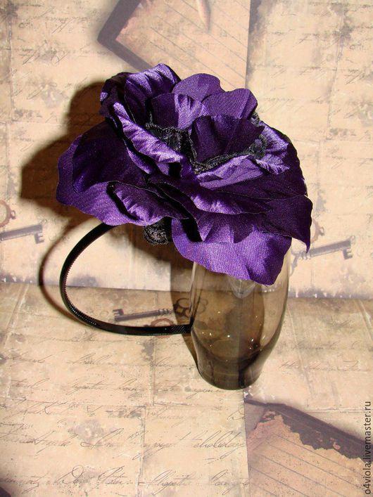 Диадемы, обручи ручной работы. Ярмарка Мастеров - ручная работа. Купить Черно-фиолетовые цветы. Handmade. Комбинированный, ободок с цветами