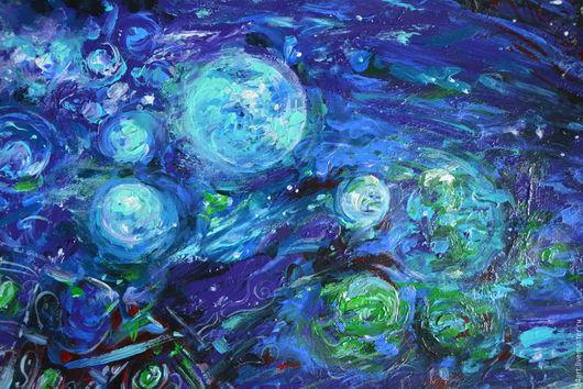 """Фантазийные сюжеты ручной работы. Ярмарка Мастеров - ручная работа. Купить Картина акрилом """"Музыка бесконечности"""". Handmade. Тёмно-синий"""