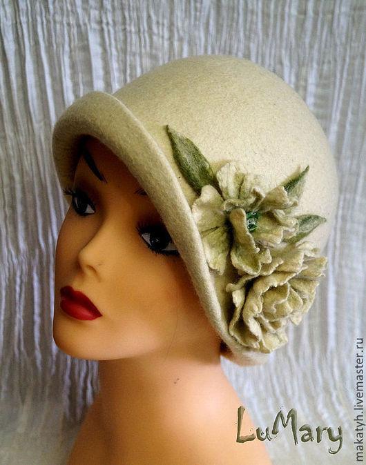 """Шляпы ручной работы. Ярмарка Мастеров - ручная работа. Купить Шляпка """"Alis"""". Handmade. Оливковый, шляпка с цветами"""