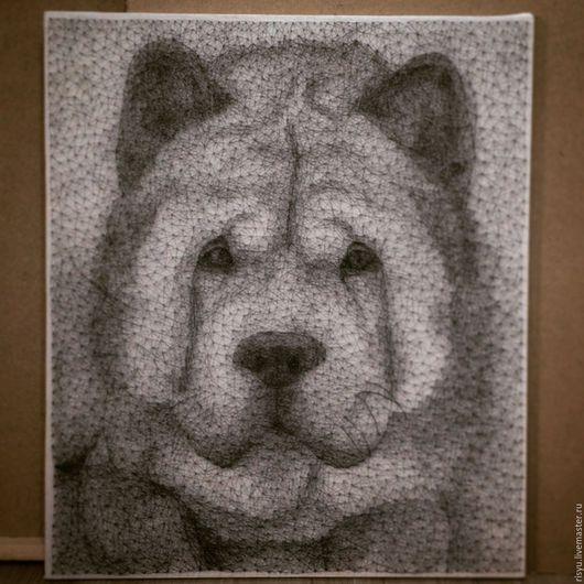 Животные ручной работы. Ярмарка Мастеров - ручная работа. Купить портрет собаки в стиле stringart. Handmade. Картина в подарок, стрингарт