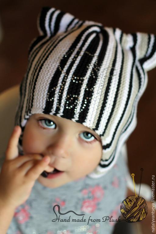 Обучающие материалы ручной работы. Ярмарка Мастеров - ручная работа. Купить МК-описание поперечной шапки с ушками Мяу. Handmade.