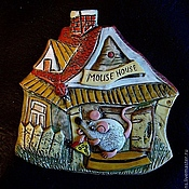 Картины и панно handmade. Livemaster - original item Ceramic panel Mouse-Homeowner. Handmade.