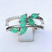 handmade. Livemaster - original item Silver ring with natural emeralds