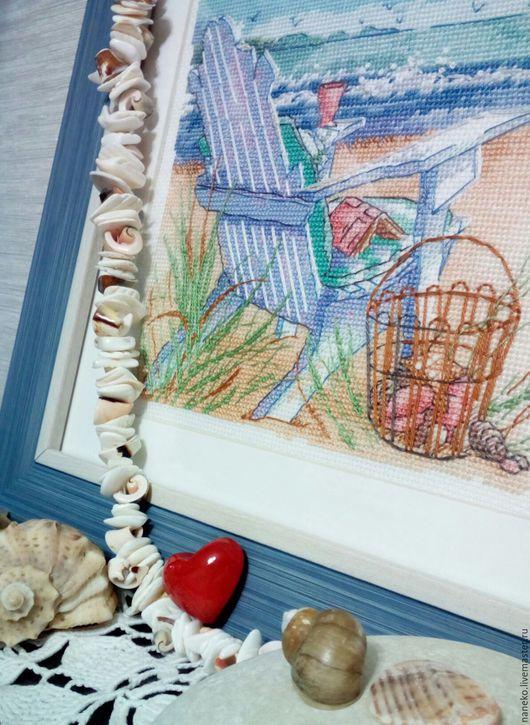 Пейзаж ручной работы. Ярмарка Мастеров - ручная работа. Купить Прилив. Handmade. Голубой, dimensions, набор для вышивания