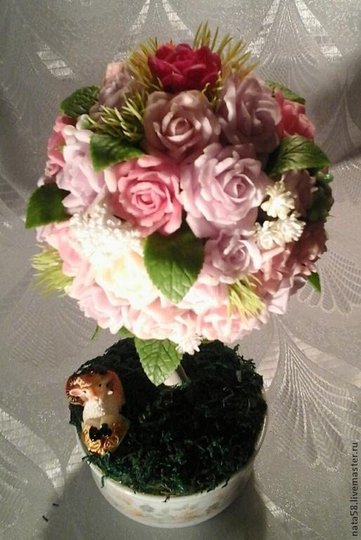 """Топиарии ручной работы. Ярмарка Мастеров - ручная работа. Купить Топиарий """"Аромат Дамасской розы"""". Handmade. Нежный подарок"""