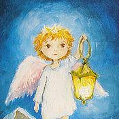 Сувениры и подарки handmade. Livemaster - original item Angel with lantern Reproduction picture Print 13h18 cm. Handmade.