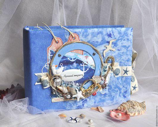 """Фотоальбомы ручной работы. Ярмарка Мастеров - ручная работа. Купить Фотоальбом морской """"Лучший отдых"""". Handmade. Голубой, морской"""