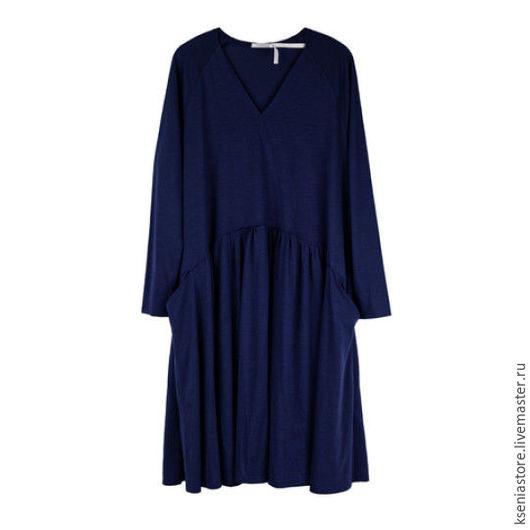 Платья ручной работы. Ярмарка Мастеров - ручная работа. Купить Платье-трапеция свободного силуэта синее. Handmade. Синий