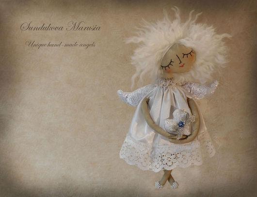"""Сказочные персонажи ручной работы. Ярмарка Мастеров - ручная работа. Купить """"Ангелочек-малышка"""" - авторская тканевая куколка. Handmade. Белый"""