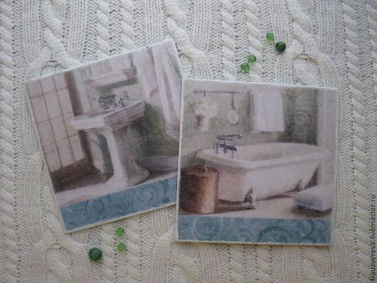 """Ванная комната ручной работы. Ярмарка Мастеров - ручная работа. Купить """"Доброе утро""""-Таблички для ванной и туалета. Handmade. Мятный"""