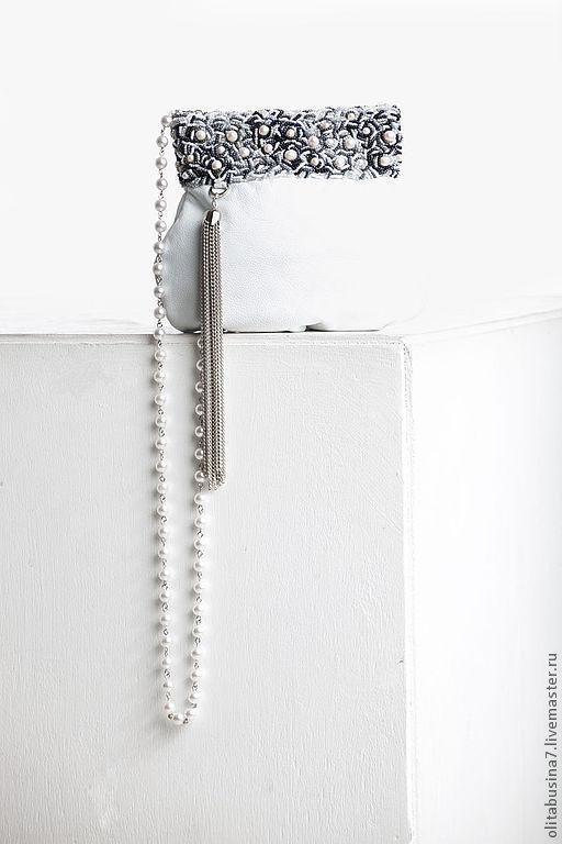 """Женские сумки ручной работы. Ярмарка Мастеров - ручная работа. Купить """"Жемчужина"""", сумочка кожаная, вышивка бисером. Handmade. Белый"""