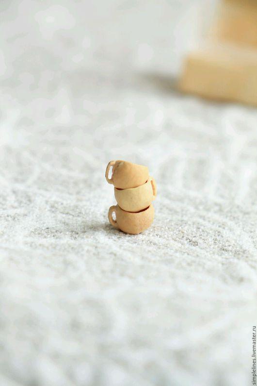 Миниатюра ручной работы. Ярмарка Мастеров - ручная работа. Купить Чашечки из косточек черешни для кукольного дома. Handmade. Миниатюра, чашки