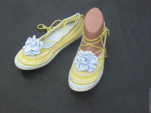 Обувь ручной работы. Ярмарка Мастеров - ручная работа. Купить Вязаные балетки. Handmade. Салатовый, балетки, балетки ручной работы