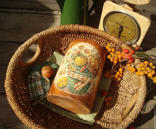 """Кухня ручной работы. Ярмарка Мастеров - ручная работа. Купить """"За летом....осень..."""" Банка-туес большая. Handmade."""