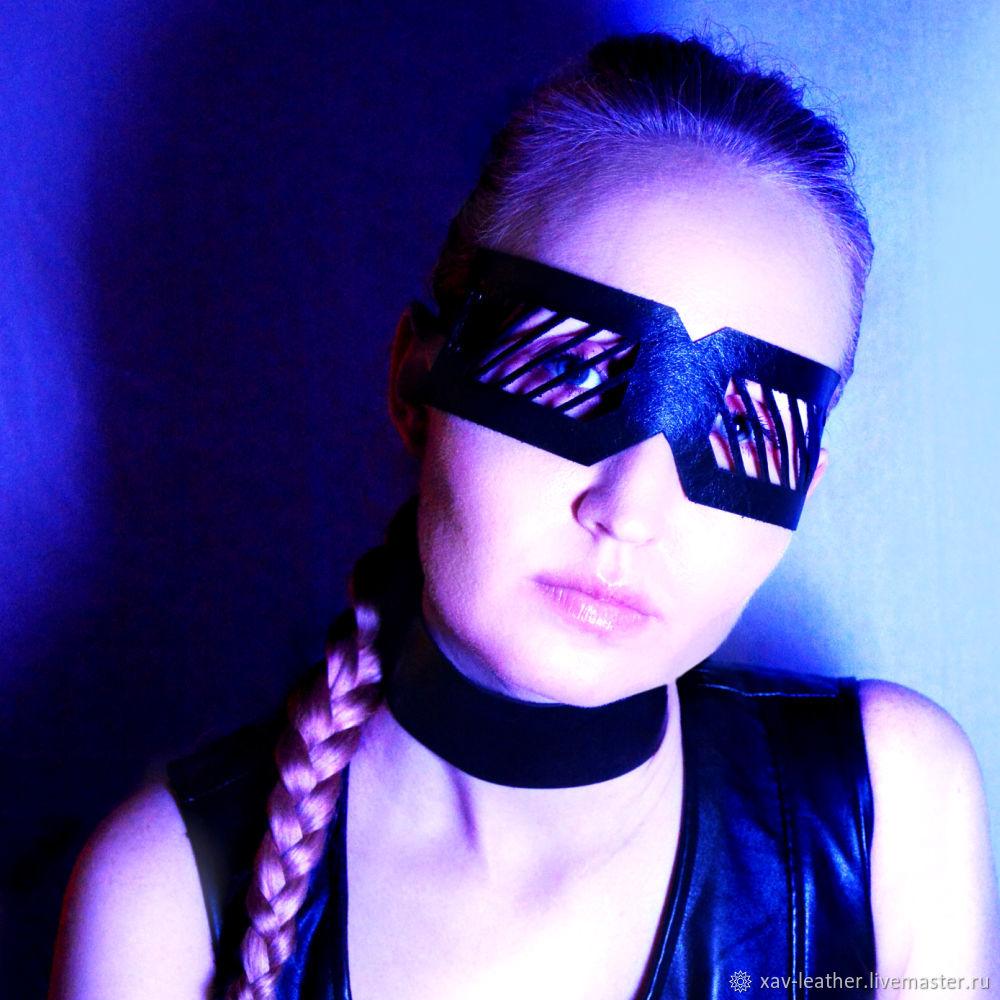 Show mask made of black genuine leather, Carnival masks, Kirov,  Фото №1