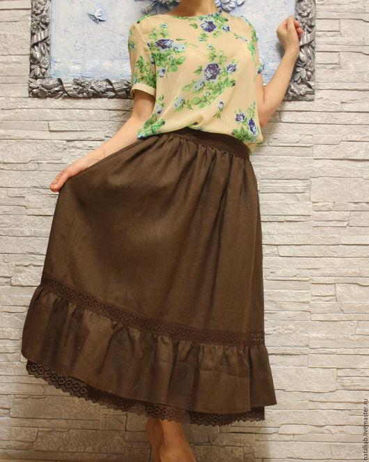 """Юбки ручной работы. Ярмарка Мастеров - ручная работа. Купить Льняная юбка """"Chocolate"""". Handmade. Коричневый, юбки, юбки фото"""
