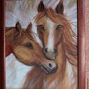 """Картины и панно ручной работы. Ярмарка Мастеров - ручная работа Картина из шерсти """"Лошади"""". Handmade."""