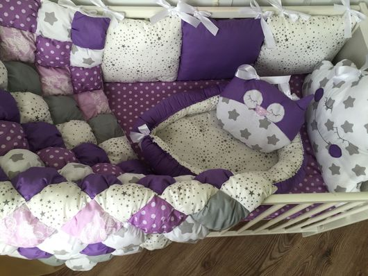 """Для новорожденных, ручной работы. Ярмарка Мастеров - ручная работа. Купить Комплект в кроватку """"сиреневые сны"""". Handmade. Комплект для девочки"""