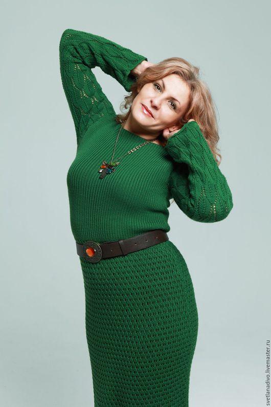 Платья ручной работы. Ярмарка Мастеров - ручная работа. Купить Платье из кашемира LORO PIANA. Handmade. Италия, зеленый