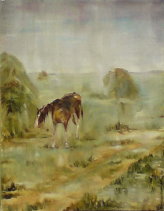 """Пейзаж ручной работы. Ярмарка Мастеров - ручная работа. Купить Картина """"Дождь. Мокрая лошадь"""". Handmade. Животные, лошади"""
