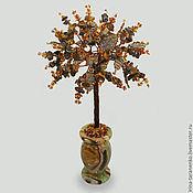 Цветы и флористика handmade. Livemaster - original item The tree of life from tiger`s eye in a vase of onyx. Handmade.