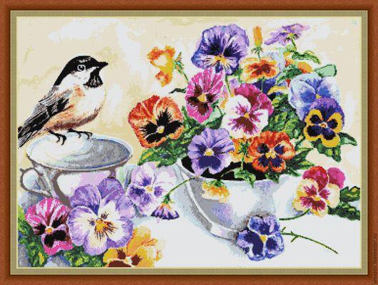 """Вышивка ручной работы. Ярмарка Мастеров - ручная работа. Купить Набор для  вышивания бисером"""" Анютины глазки №2"""""""". Handmade. цветы"""