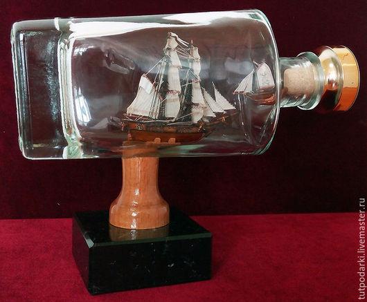 Миниатюрные модели ручной работы. Ярмарка Мастеров - ручная работа. Купить Масштабная модель корабля в бутылке. Французский бриг 18 век. Handmade.