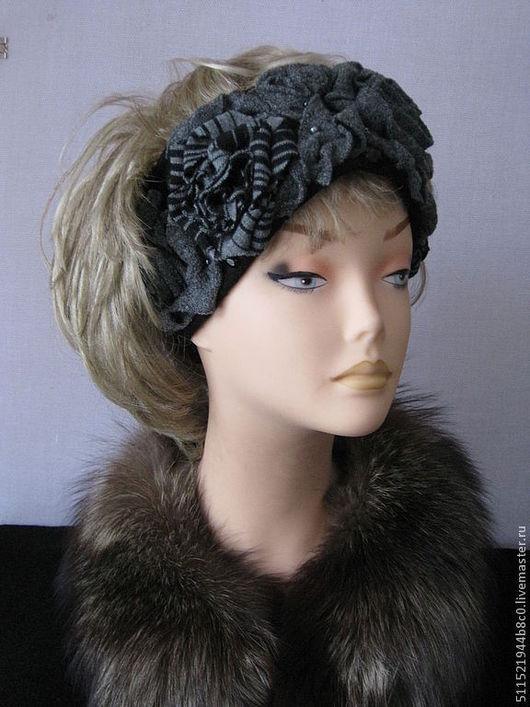Шляпы ручной работы. Ярмарка Мастеров - ручная работа. Купить Ностальгия - 02 теплая повязка серая. Handmade. Черно-серый