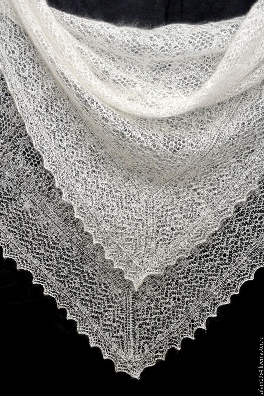 вязаный пуховый платок схема
