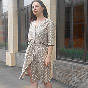 Льняное платье рубашка в горошек