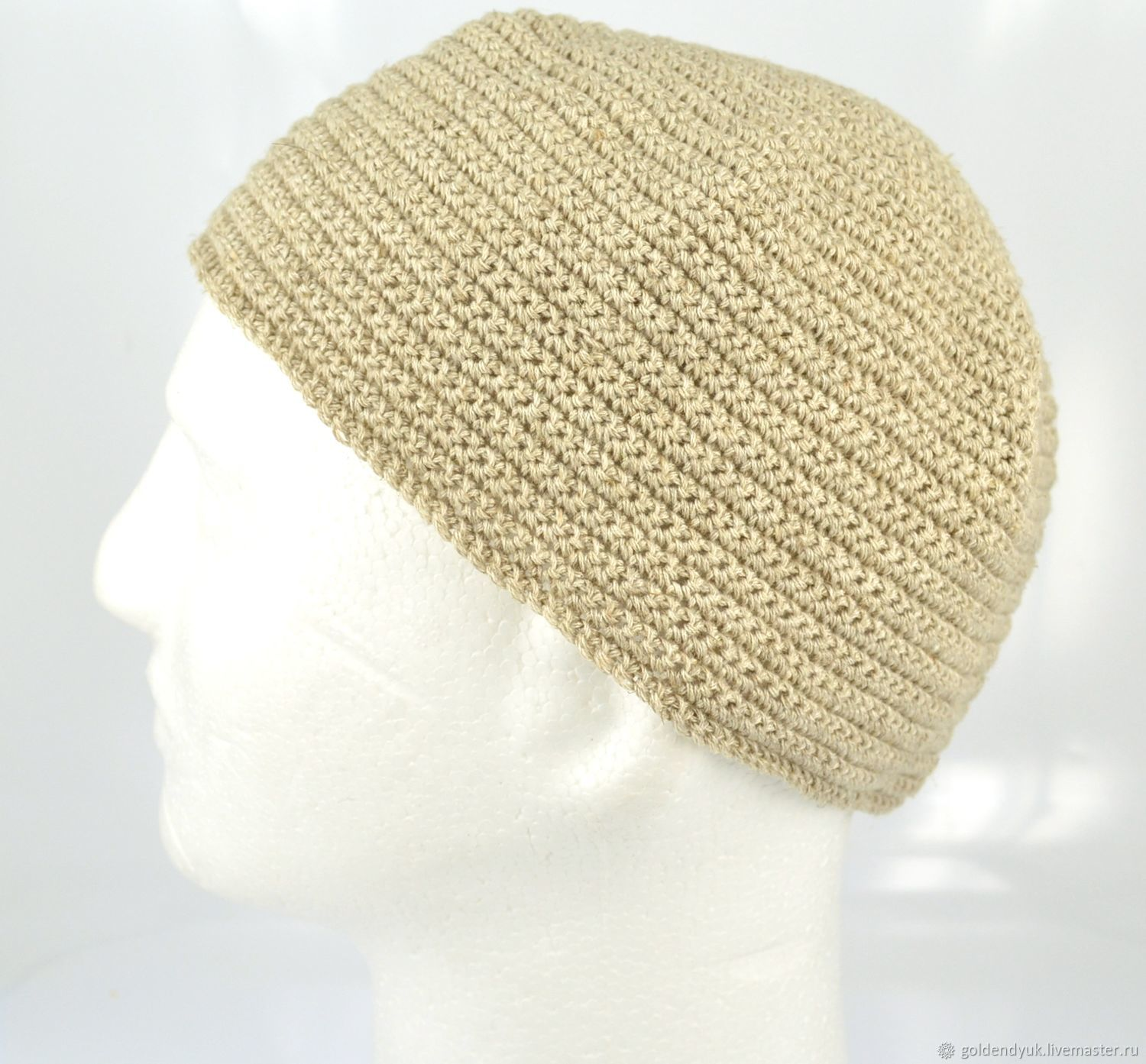 Hand-knitted men's hat made of linen, Caps, Moscow,  Фото №1