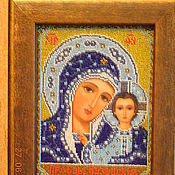 Подарки к праздникам handmade. Livemaster - original item The icon embroidered with beads of our lady of Kazan in blue. Handmade.