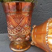 Винтаж handmade. Livemaster - original item Carnival glass. Wondrous vase/goblet. Handmade.