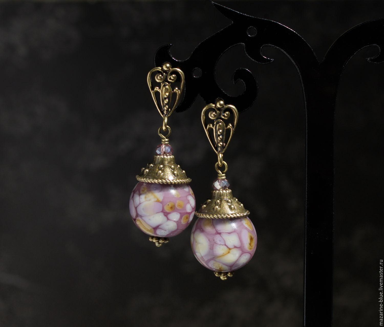 Earrings Handmade Livemaster Frangipani Lampwork