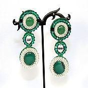 Украшения handmade. Livemaster - original item Emerald long earrings with stones. Handmade.