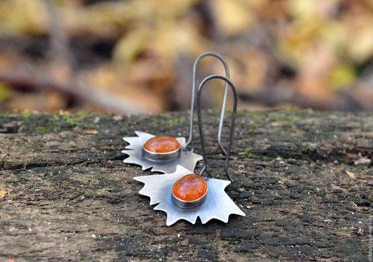 """Серьги ручной работы. Ярмарка Мастеров - ручная работа. Купить Серьги серебряные """"Кленовые листья"""" с сердоликом. Handmade. Рыжий"""