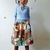 """Одежда ручной работы. Ярмарка Мастеров - ручная работа Юбка """"Хочу в Африку"""", миди, хлопок, НОВИНКА. Handmade."""