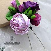 Свадебный салон ручной работы. Ярмарка Мастеров - ручная работа Шпилька бело-фиолетовая. Handmade.