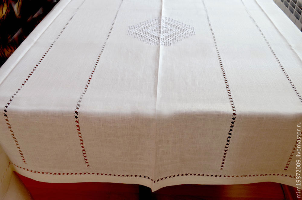 ... Openwork White Linen Table Cloth, Strojeva Embroidery, White On White,  Russian Style, ...