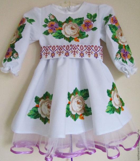 """Одежда для девочек, ручной работы. Ярмарка Мастеров - ручная работа. Купить Невероятное детское вышитое платье """"чайные розы"""" подарок ребенку. Handmade."""