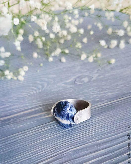 Кольца ручной работы. Ярмарка Мастеров - ручная работа. Купить Серебряное кольцо с содалитом. Handmade. Тёмно-синий, содалит, pmc