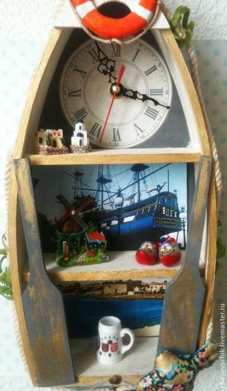 """Часы для дома ручной работы. Ярмарка Мастеров - ручная работа. Купить Часы настенные """"По волнам"""". Handmade. Голубой, текстиль"""