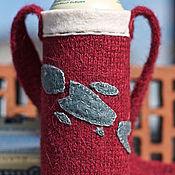 Чехлы для посуды ручной работы. Ярмарка Мастеров - ручная работа Вязаная сумка-держатель  для пивной банки и бутылки. Handmade.