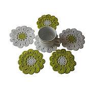 Для дома и интерьера handmade. Livemaster - original item Stand under a hot, under mugs, light green,white. Handmade.