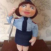 """Куклы и игрушки ручной работы. Ярмарка Мастеров - ручная работа куклаиз капрона """"Девушка полицейский"""". Handmade."""