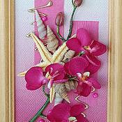 """Картины и панно ручной работы. Ярмарка Мастеров - ручная работа Панно """"Орхидея-фуксия"""". Handmade."""