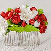 Свадебный салон ручной работы. Ярмарка Мастеров - ручная работа Красно-белое украшение волос, Гребень с цветами, Свадебный аксессуар. Handmade.