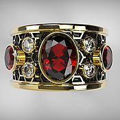 Украшения handmade. Livemaster - original item Gold ring Soty with rubellites and diamonds. Handmade.
