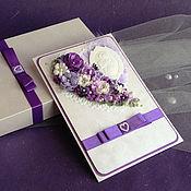 Свадебный салон ручной работы. Ярмарка Мастеров - ручная работа Свадебная открытка в коробочке. Бело-сиреневая-1. Handmade.